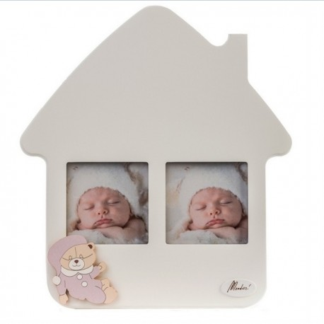 Bear photo frame house in wooden Mendozzi - H 26 media
