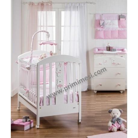Babybett mit schmalem Band und Kommode + Wickelauflage aus Picci-Mami-Stoff + kostenlose Matratze und Kissen