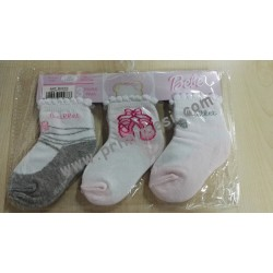 Set 3 Pairs of Short Socks Cotton Baby Socks