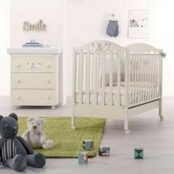"""Chambre à coucher avec lit bébé et baignoire pour bébé - Vestiaire """"Star Azzurra Design"""" avec matelas gratuit"""