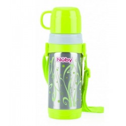 Thermos water bottle with glass and shoulder strap 360ml Nuby