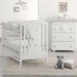 Dormitorio Funky Blue con cuna y bañera cambiador para bebé - colchón gratis