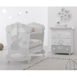 Bedroom with cot Oblò and baby bath Cuore Stelle Azzurra Design - free mattress