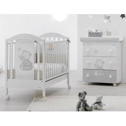 Schlafzimmer mit Kinderbett und Babywanne Cuore Stelle Azzurra Design - freie Matratze