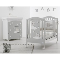 Bedroom with cot and bath / changing mat Mars Azzurra Design - free mattress