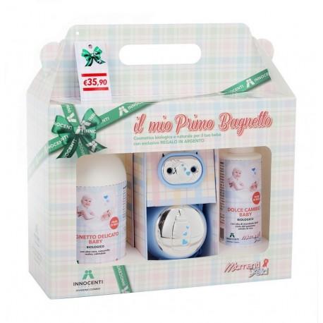 Bagnetto delicato Bio + crema cambio + set porta ciuccio Innocenti Argenti