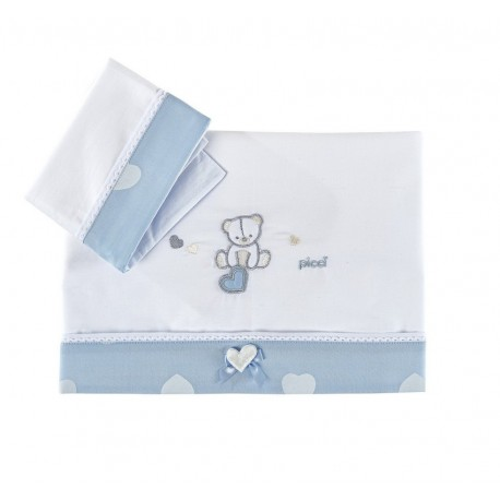 Set lenzuola con federa per culla/carrozzina Amelie Picci