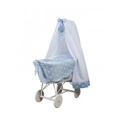 Cradle with veil, large wheels and Amelie duvet Picci -