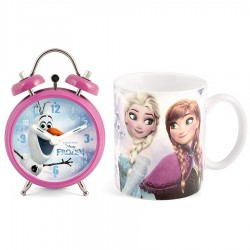 Set 2 pieces with alarm clock and porcelain mug - various characters