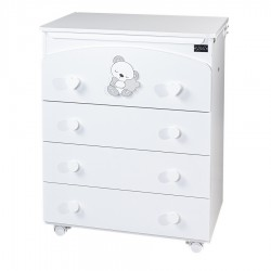 Chest of drawers 4 drawers white Sleepy
