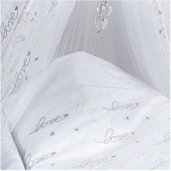 Embroidered Sleepy tulle cradle feather