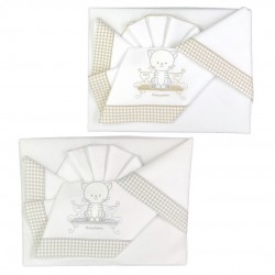 Embroidered sheet set for cradle co-sleeping Andy & Helen