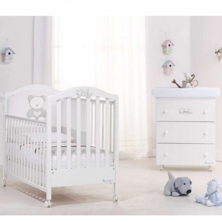 Bedroom with cot and bath Fun Diamond Azzurra Design - Mattress for free