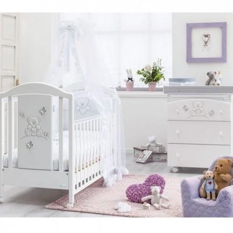 Schlafzimmer mit Kinderbett und Wickelauflage für Baby Sophia Azzurra Design - Geschenk matratze